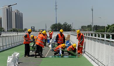 北京首条自行车专用路彩色铺装